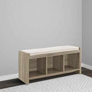 Ameriwood Home Sonoma Oak Storage Bench with Beige Cushion