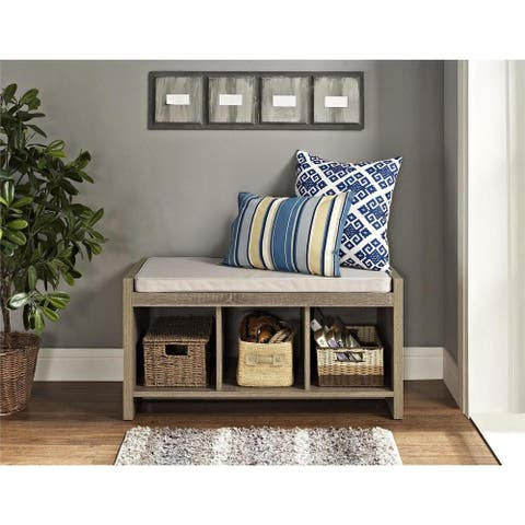 The Gray Barn Windy Bracken Beige/ Brown Cushioned Storage Bench
