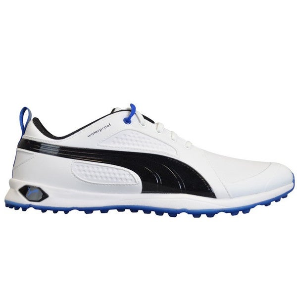 Shop Puma Men s Biofly White  Black  Strong Blue Golf Shoes - Free Shipping  Today - Overstock - 10606285 0d4834d2d