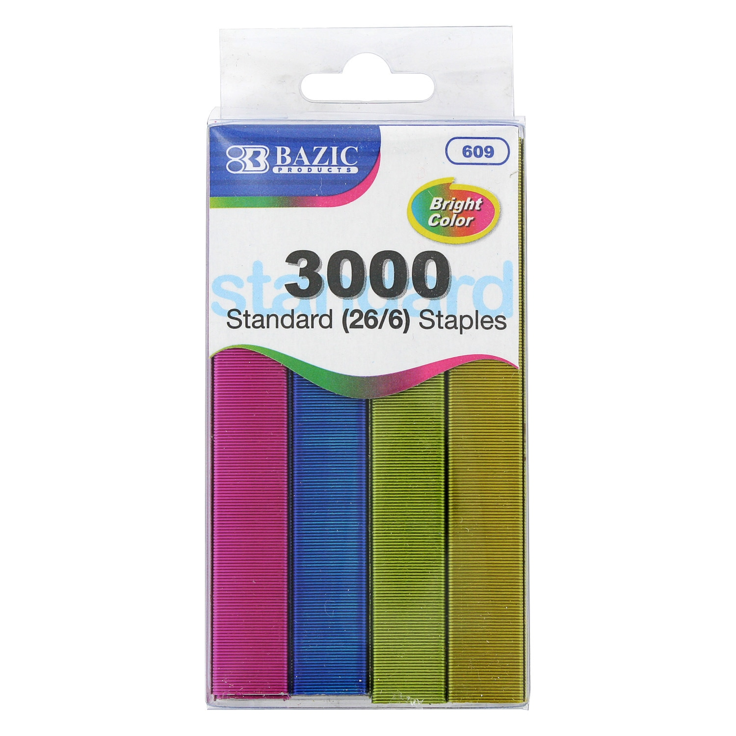 Standard 26/6 Assorted Color Desktop Staples (Bazic Staples, Assorted Colors, Pack of 3,000), Yellow