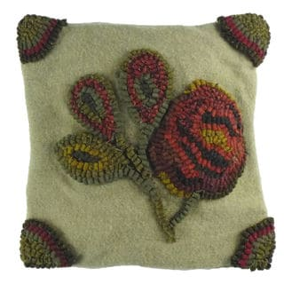 "Rosette Hooked Wool Pillow 12"" x 12"""