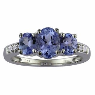 Divina 10k White Gold 1 1/2ct TDW 3-stone Diamond and Tanzanite Ring (G-H, I1-I2)