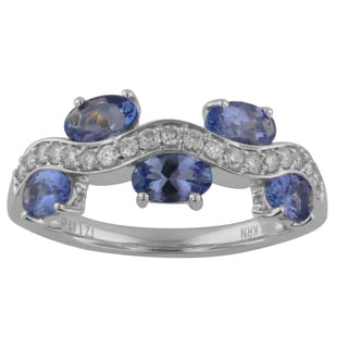 Divina 10k White Gold 1 1/2ct TDW 5-stone Diamond and Tanzanite Ring (G-H, I1-I2)
