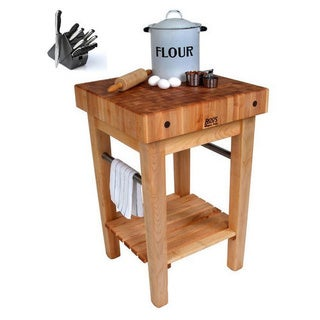 John Boos 30 x 24 Maple Pro Prep Block Cart PPB3024D-C with 15-inch Drawer, Casters, & J. A. Henckles 13-piece Knife Block Set