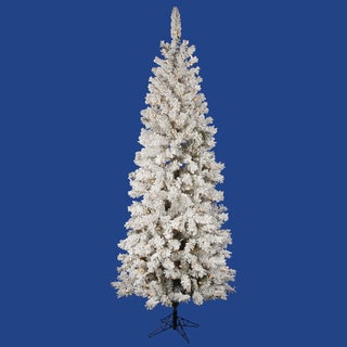 """4.5' x 26"""" Flocked Pacific Tree with 150 Frosted Warm White Italian LED Lights"""