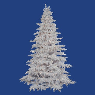 "4.5' x 46"" Flocked White Spruce Tree with 250 Warm White Italian LED Lights"