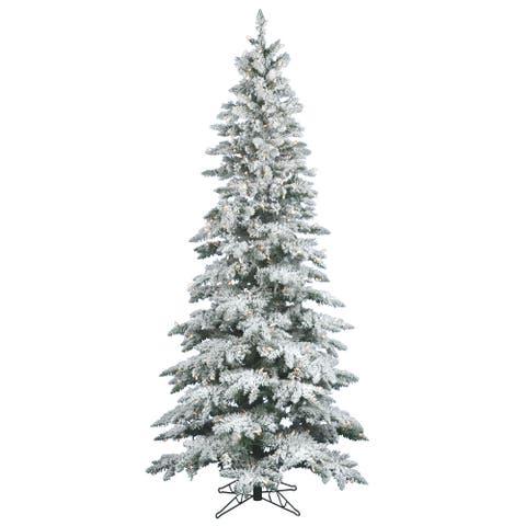 "7.5' x 43"" Flocked Utica Fir Tree with 400 Warm White Italian LED Lights"
