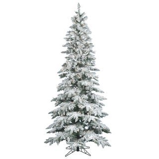"9' x 49"" Flocked Utica Fir Tree with 600 Warm White Italian LED Lights"