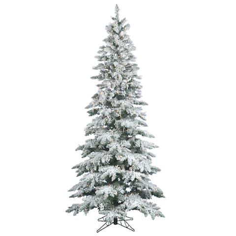 "10' x 55"" Flocked Utica Fir Tree with 700 Warm White Italian LED Lights"
