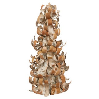 "16"" Rustic Earth Tone Tree Bark Inspired Table Top Christmas Cone Tree"