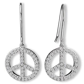 14K White Gold 1/3ct TDW Peace Sign Diamond Dangle Earrings (G-H, SI2-SI3)