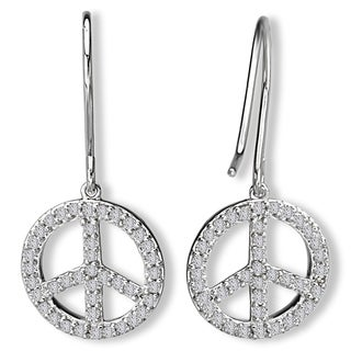Avanti 14K White Gold 1/3ct TDW Peace Sign Diamond Dangle Earrings