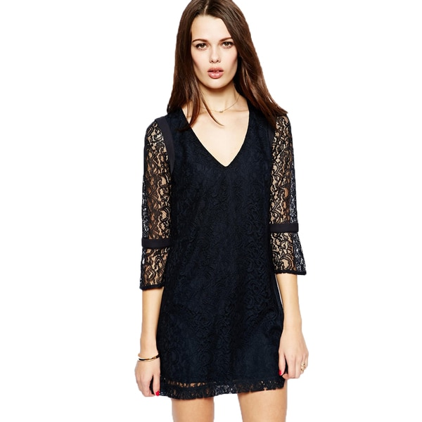 ef7d57907c Shop French Connection T-Gigliolia Moments Black Lace Mini Tunic Dress - On  Sale - Free Shipping Today - Overstock - 10606570