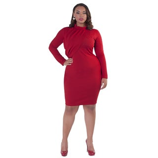 Kayla Colection Women's Turtle Neck Rhinestone Dress