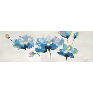 Hobbitholeco. 'Blue Trio' 20 x 59-inch Oil Painting Wall Art