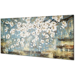 shop blue blossom 30 inch x 60 inch oil wall art on sale free shipping today. Black Bedroom Furniture Sets. Home Design Ideas