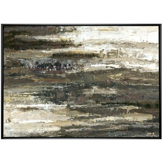 Abstract Layer 33-inch x 43-inch Framed Oil Wall Art
