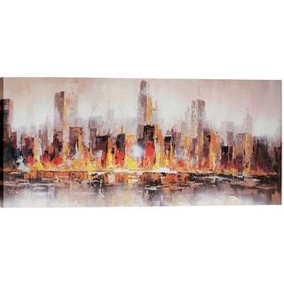 Hobbitholeco. 'Warm City Shore' 60 x 30-inch Oil Wall Art