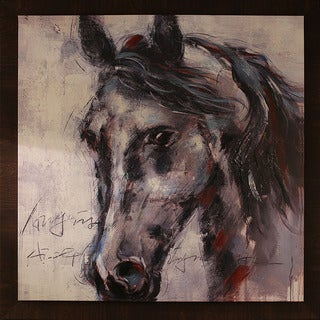 Horse Face 45.5-inch x 45.5-inch Framed Oil Wall Art