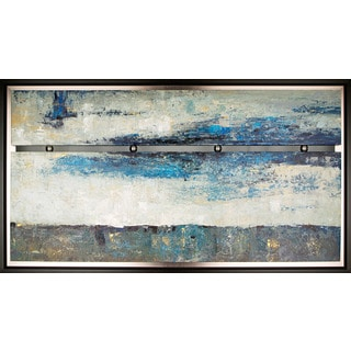 Hobbitholeco. 'Abstract In Blue' 37 x 66-inch Framed Oil Wall Art