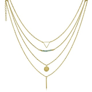 Adoriana Yellow Gold-Overlay Quadruple Strand Layered Necklace