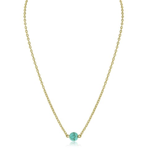 Adoriana Yellow Gold Over Brass Gold Turquoise Bead Necklace - White