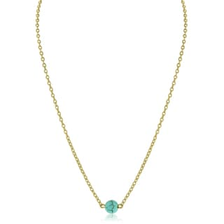 Adoriana Yellow Gold Turquoise Bead Necklace