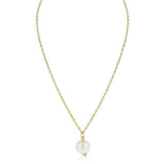 Adoriana Yellow Gold Over Brass Pearl Solitaire Necklace - White