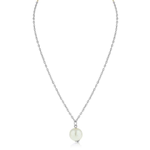 Adoriana White Gold Over Brass Pearl Solitaire Necklace