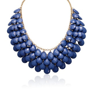 Gold Over Brass Royal Blue Crystal Statement Necklace (18 inches)