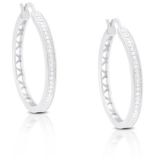 Finesque Gold Over Silver or Sterling Silver 1/4ct TDW Diamond Hoop Earrings (I-J, I2-I3)