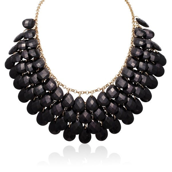 Gold Over Brass Black Crystal Statement Necklace. Opens flyout.
