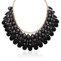Gold Over Brass Black Crystal Statement Necklace