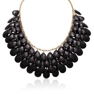 Gold Over Brass Black Crystal Statement Necklace