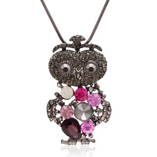 Crystal White, Purple and Pink Princess Owl Necklace (18 inches)