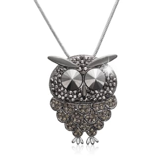 Gunmetal and Black Crystal Owl Necklace (18 inches)