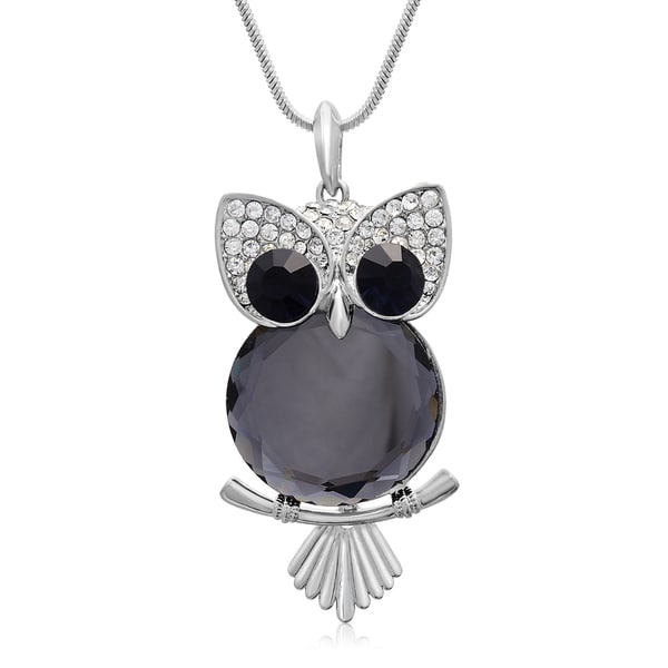Blue and Clear Crystal Owl Necklace (18 inches)