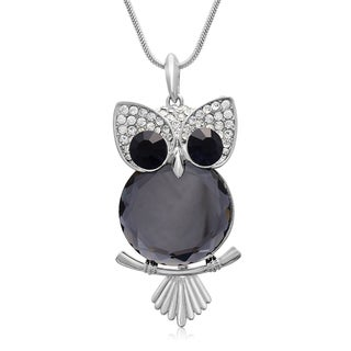 Blue Sapphire and Clear Crystal Owl Necklace (18 inches)