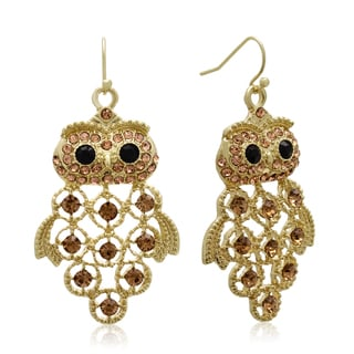Gold Overlay Black and Champagne Crystal Owl Earrings (1 3/4 inches)