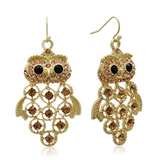 Gold Over Brass Black and Champagne Crystal Owl Earrings (1 3/4 inches)