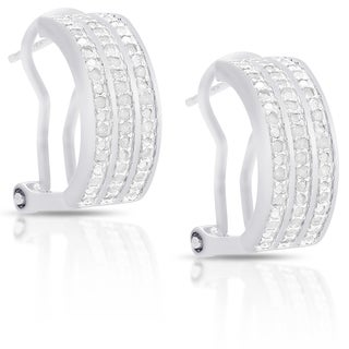 Finesque Sterling Silver or Gold Over Silver 1/2 ct TDW Diamond Hoop Earrings