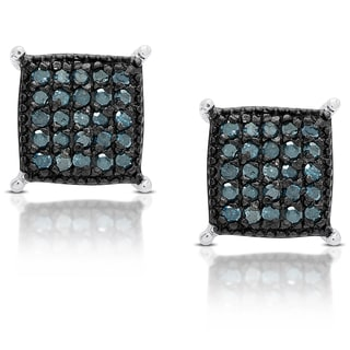 Finesque Sterling Silver 1/2 ct TDW Blue Diamond Square Stud Earrings