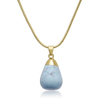 18k Gold Overlay 10 Carat Turquoise Necklace (18 inches)