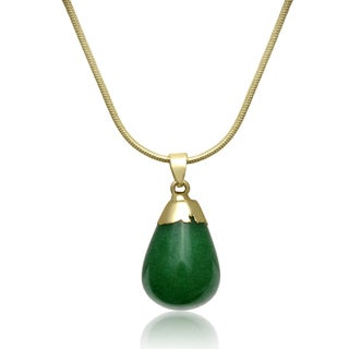 18k Gold Overlay 10 Carat Jade Necklace (18 inches)