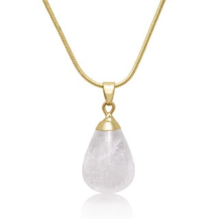 Gold Over Brass Clear Necklace with 18-inch Chain