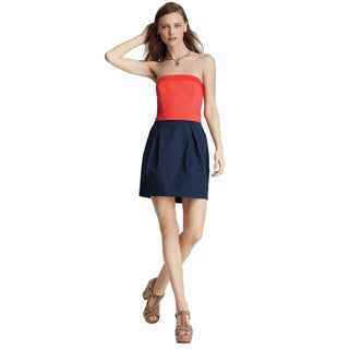 French Connection Red Navy Wizard Cotton Sleeveless Sheath Dress
