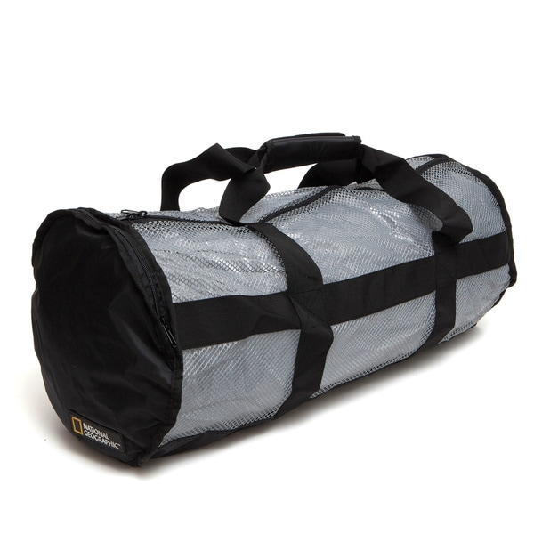 National Geo Clamshell Deluxe Drawstring 2 Pocket Duffle Ti/Blk