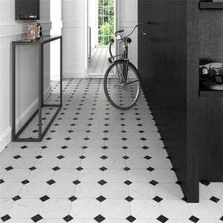 SomerTile 13.125x13.125-inch Comarca Jet Blanco Ceramic Floor and Wall Tile (9 tiles/11.18 sqft.)
