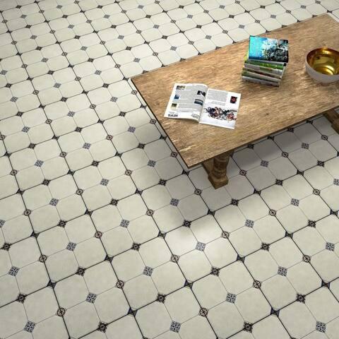 SomerTile 13.125x13.125-inch Huerta Jet Blanco Ceramic Floor and Wall Tile (9 tiles/11.18 sqft.)