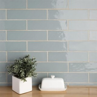 SomerTile 3x12-inch Gloucester Acqua Ceramic Wall Tile (22 tiles/5.5 sqft.)